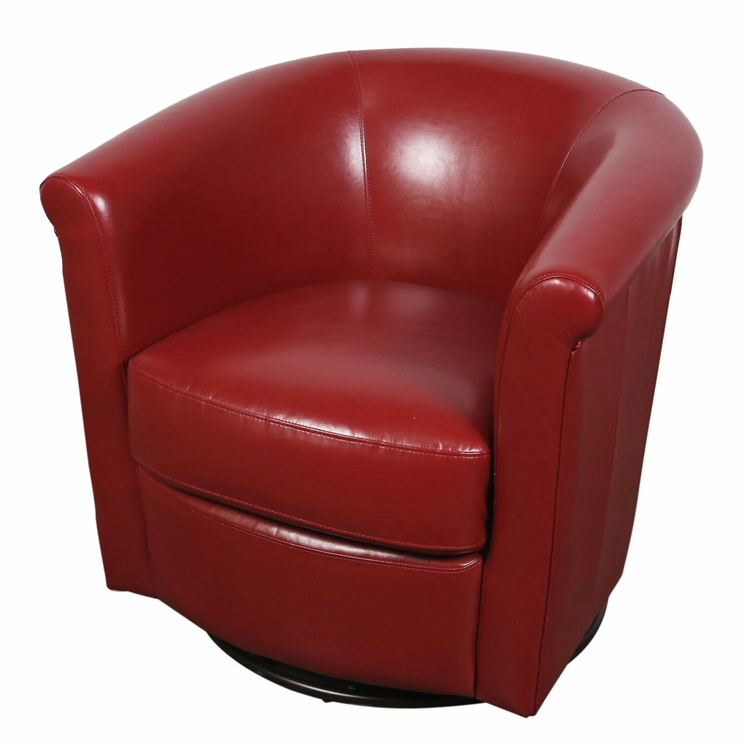 Red Leather Swivel Chair Porter Marvel Red Swivel Barrel Accent Chair Porter International