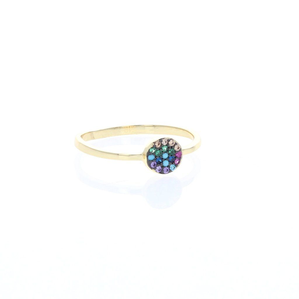 f81c73864 Golden Rainbow Cubic Zirconia Disc Ring #alexandramarksjewelry #rainbowring  #rainbowjewelry #goldring #musthave #stackingring