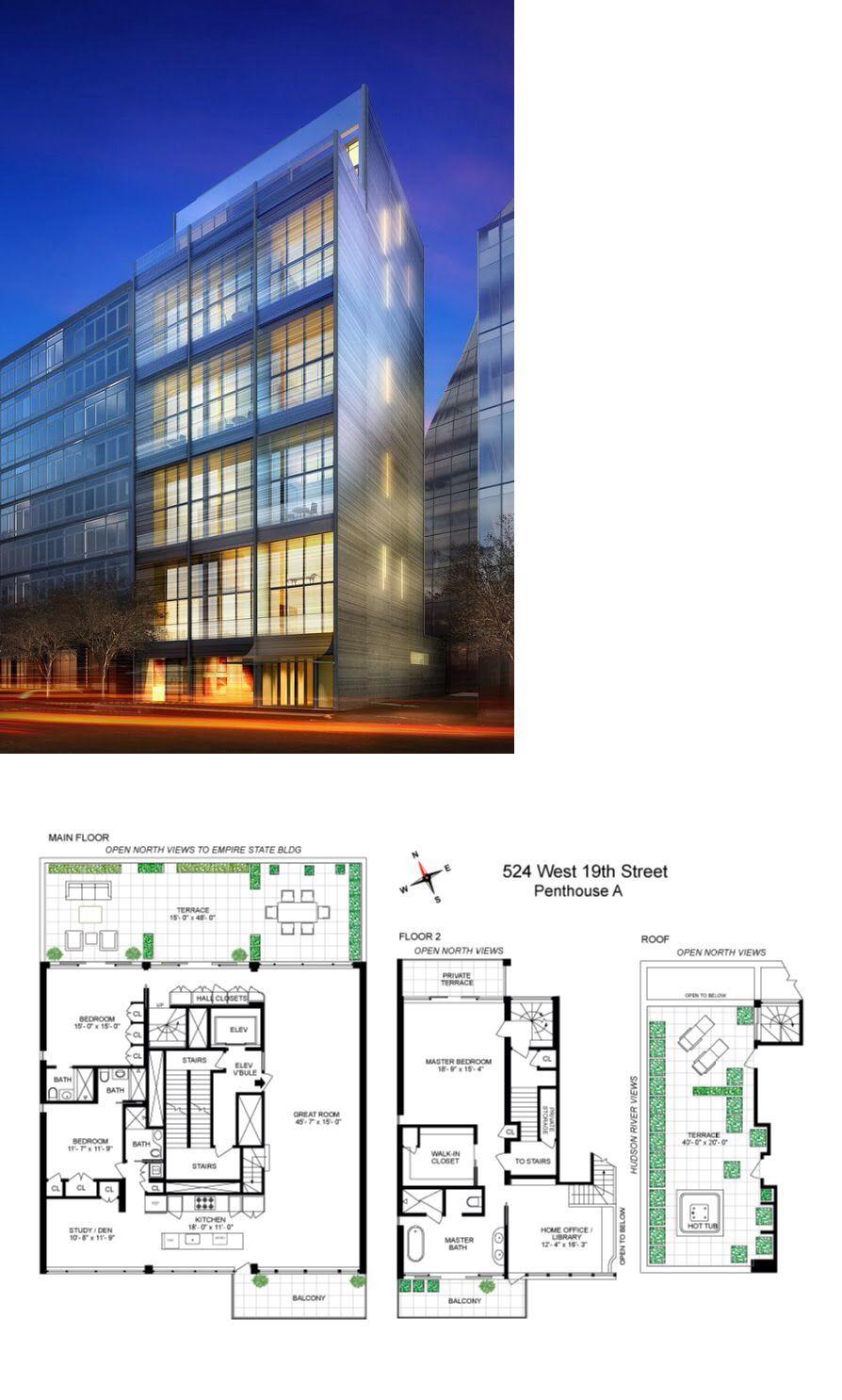 524 West 19th Street Penhousea Pent House Apartment Floor Plan House Plans