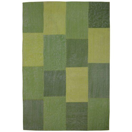 Lyrical Handmade Flat Woven Cotton Green Rug Kayoom Size
