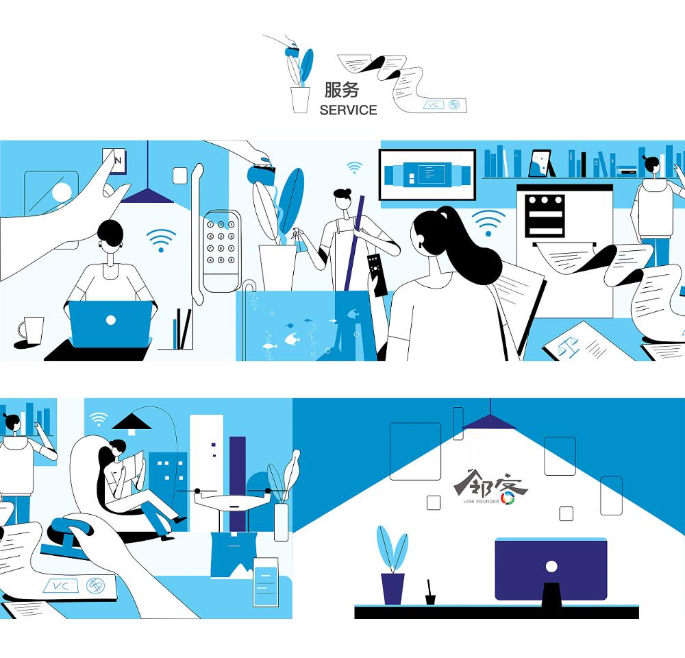 Linkfounder邻客创业公社影视...梁师庭采集到线面插画(67图)_花瓣插画/漫画 Flat