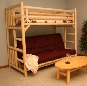 Save On Log Bunk Bed Twin Over Futon Free Shipping Quality Furniture