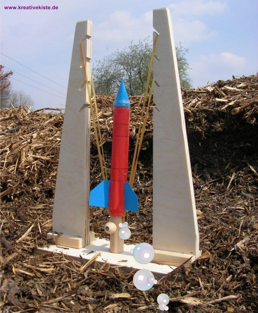 Papierrakete Mit Holzstartrampe Kinder Basteln Holz