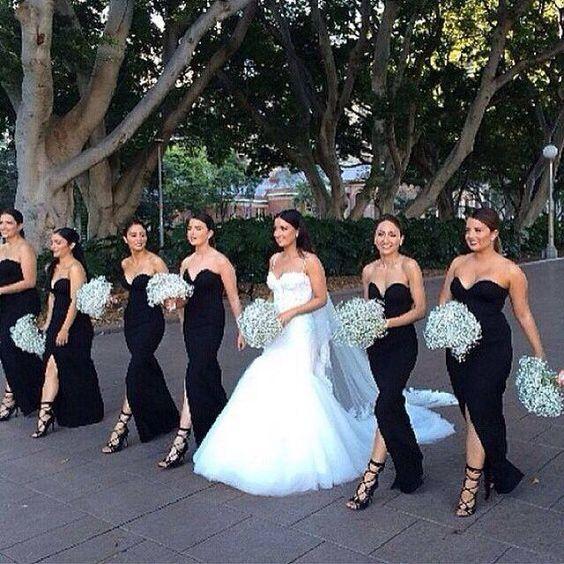 Vestido de dama de honor negro, ¿puedes?  |  Casarse es barato  – Boda