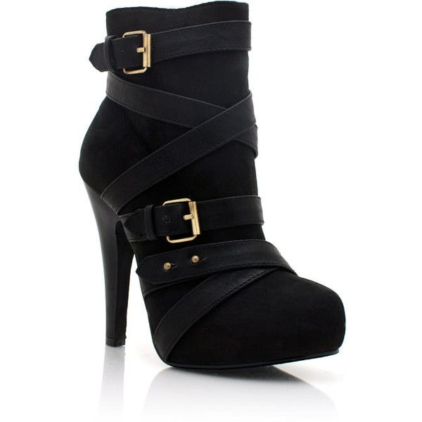 buckled ankle booties ($37) ❤ liked on Polyvore. I don't usually like ankle boots but these are adorable.