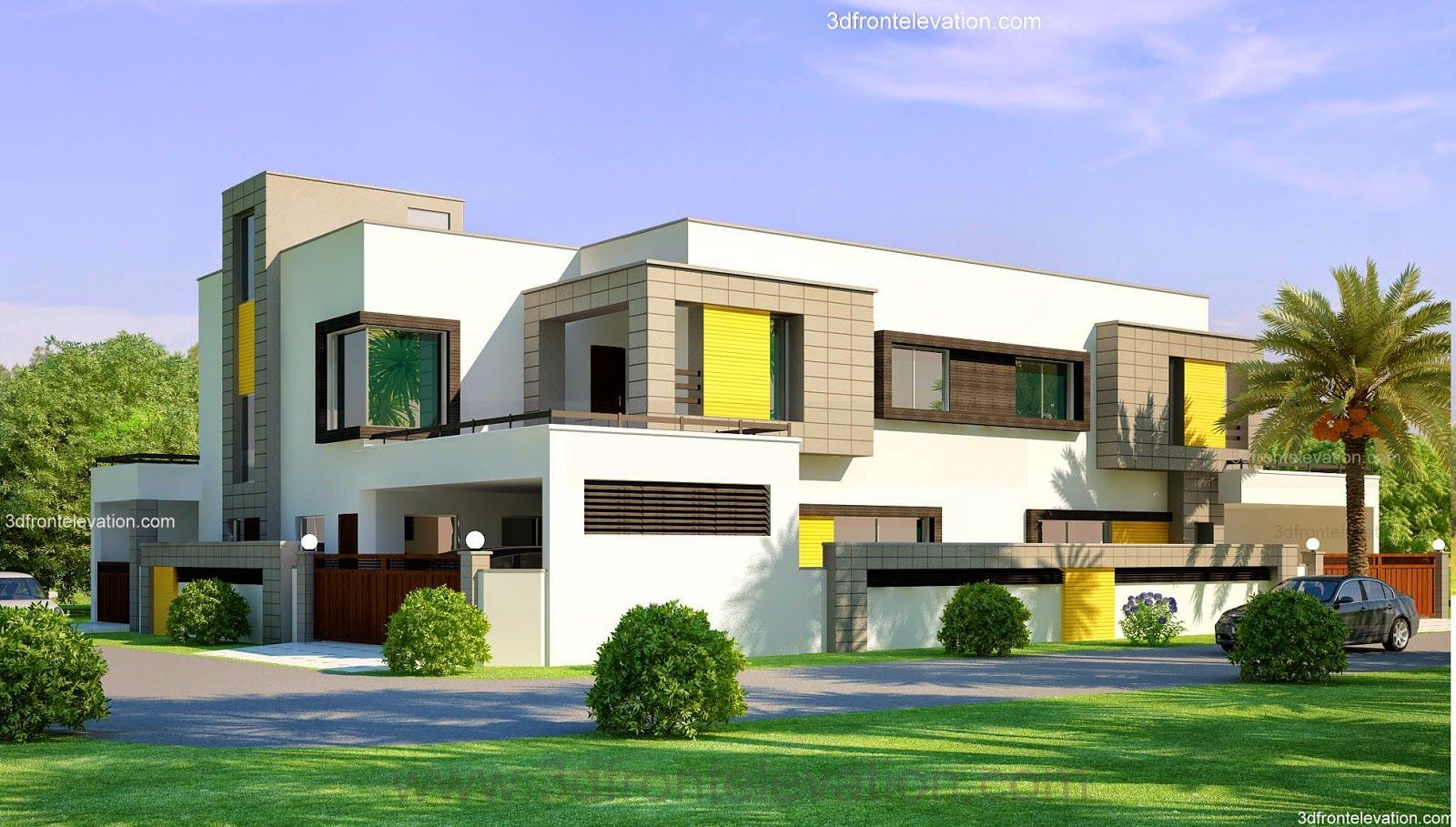 1 kanal corner plot 2 house design lahore beautiful for Contemporary indian house elevations