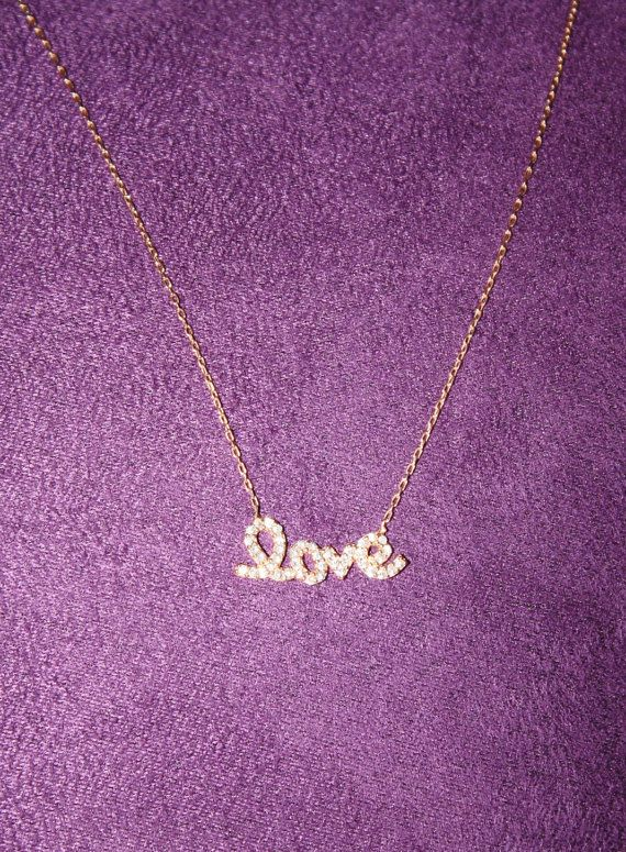 Love Necklace  Rose Gold with CZ's  by SandysCharmingBeads on Etsy, $43.00