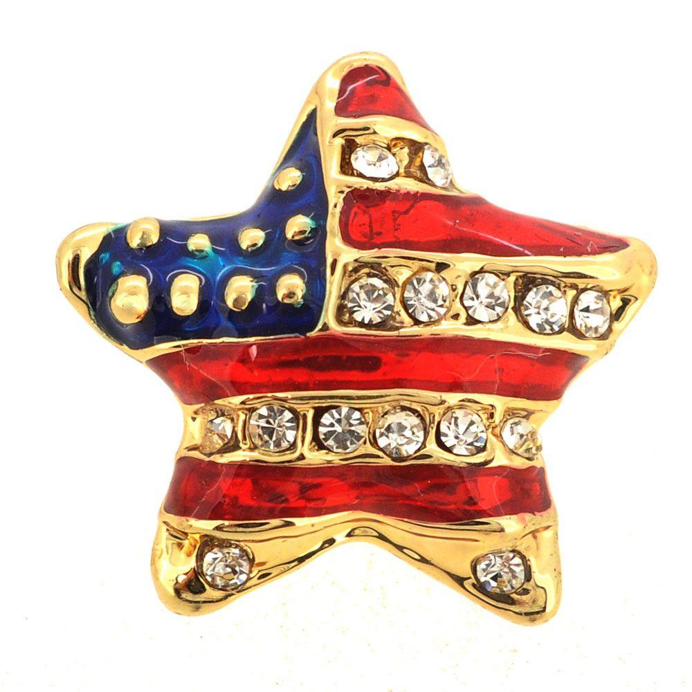 Golden Crystal American Flag Star Pin Brooch
