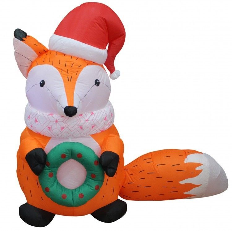 Christmas Fox Airblown Inflatable 5 Ft Yard Garden Lighting Xmas - inflatable christmas yard decorations