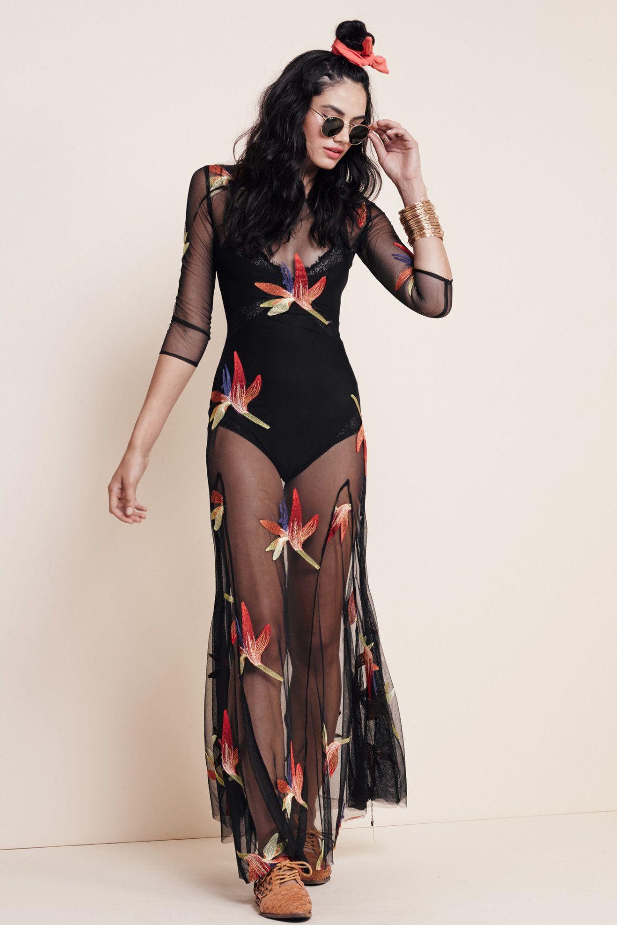 a0b9b86430 BIRDS OF PARADISE MAXI DRESS Sheer Overlay Dress
