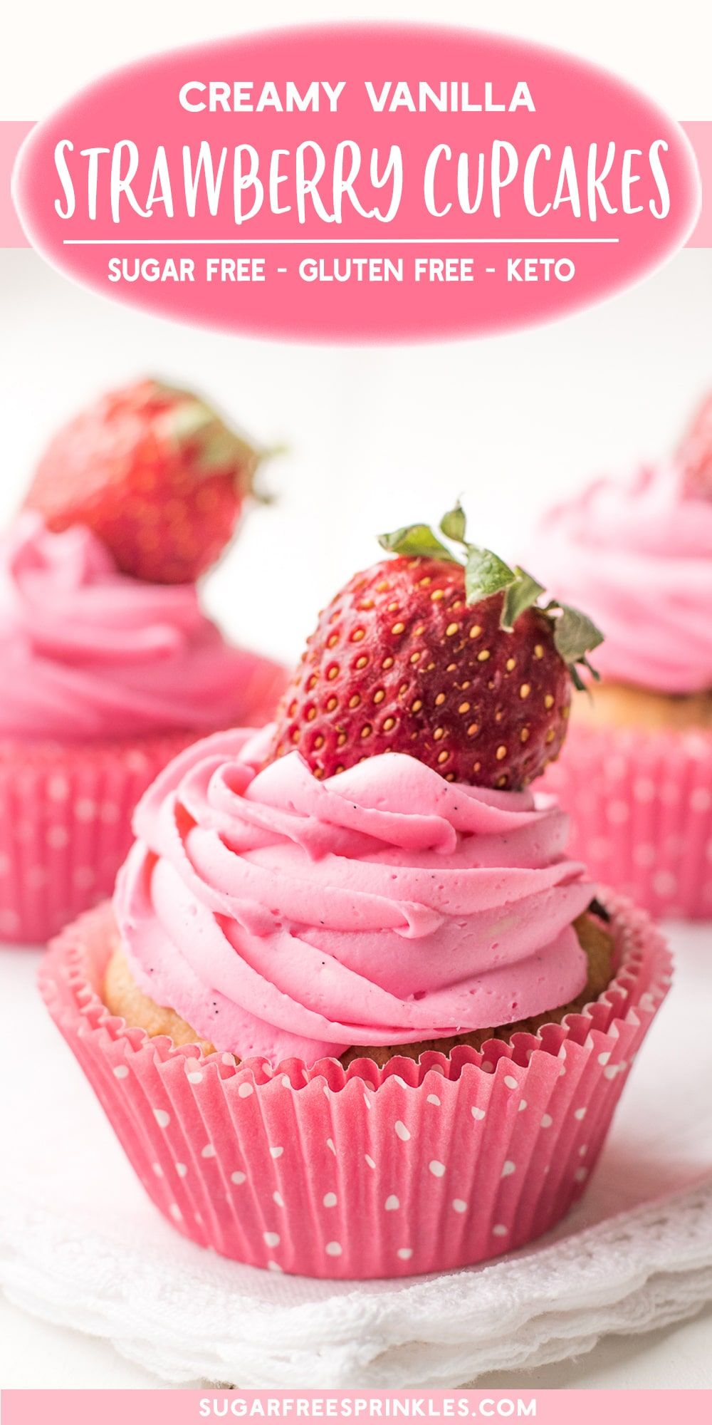 Sweet roasted strawberries are the stars in these low carb cupcakes.   These sugar-free cupcakes are moist and delicious and topped with a pipeable whip cream vanilla frosting.  No sugar, no grains, low carb, keto friendly and gluten-free!   A great low carb baking recipe to add to your rotation. #lowcarbrecipes