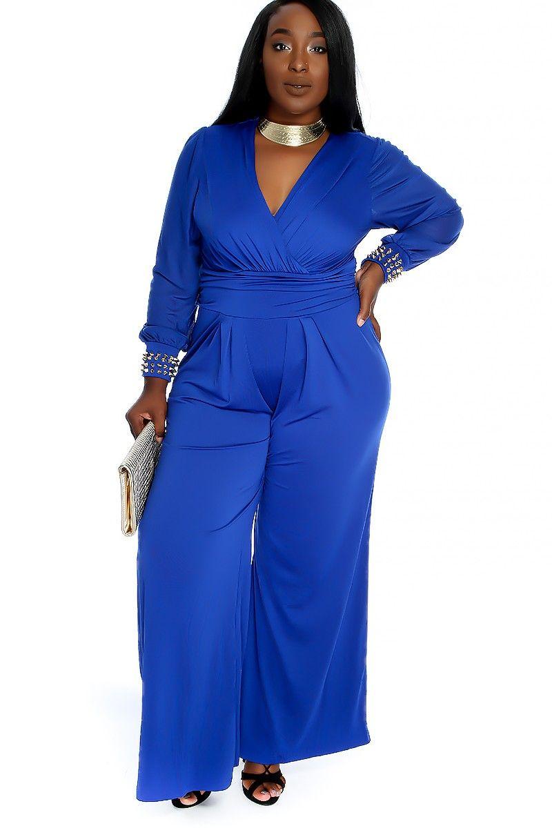 Blue Dressy Plus Jumpsuit