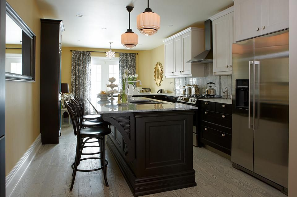 OMG This Black With Yellow Is Fabulous. Love The Island In The Skinny Kitchen  Sarah Richardson Sarah 101 Black Yellow Kitchen