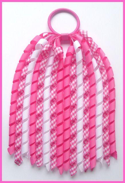 99a357b98 Hot Pink Gingham Korker Ponytail Streamer-korker streamer, ponytail,  streamer, pony o, grosgrain ribbon, girl, school, long hair, korker,  crochet, headband, ...