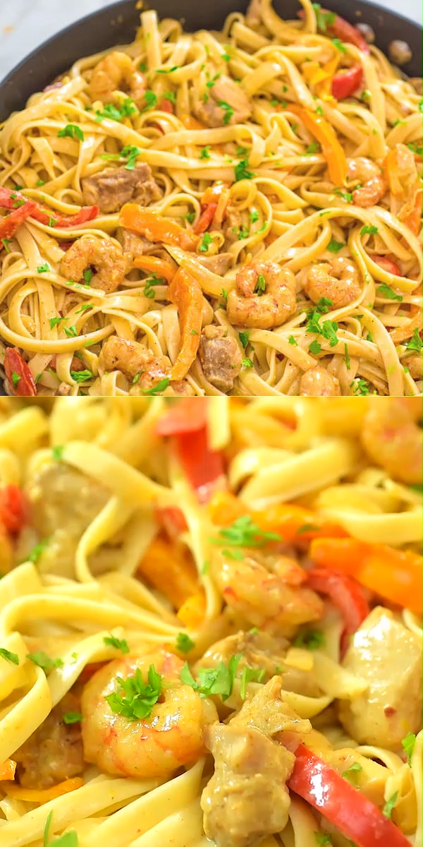 Chicken and Shrimp Pasta #shrimppasta