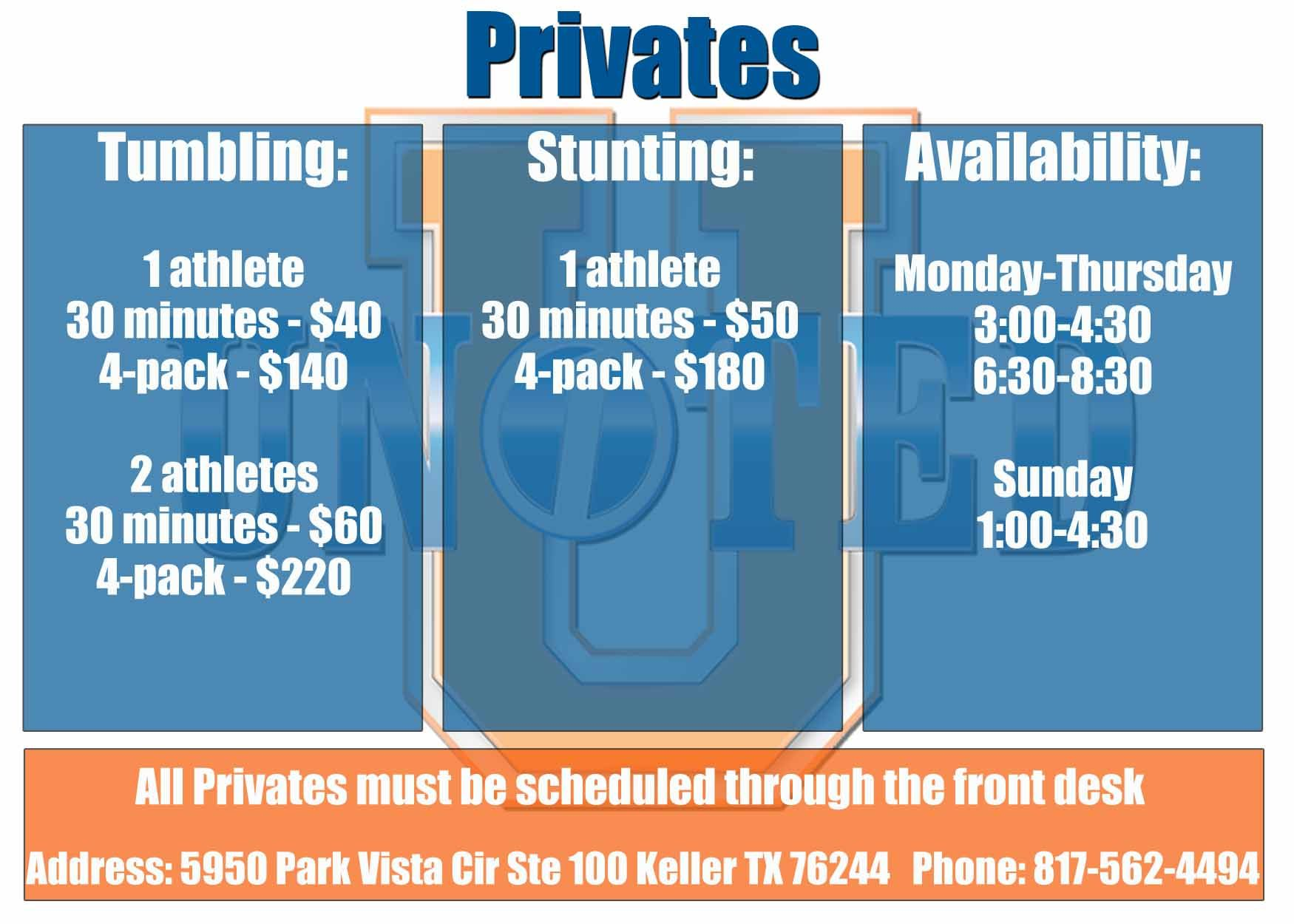 medium resolution of schedule your privates at united cheer keller today cheer schedule bar chart