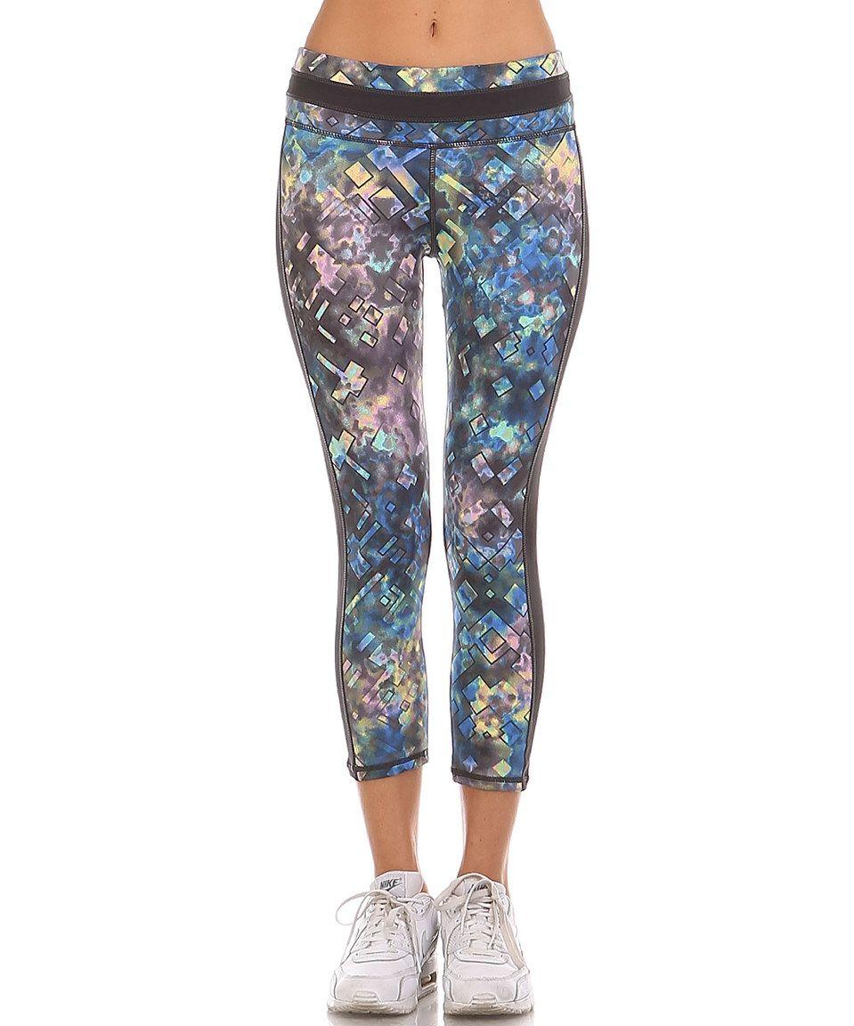 8a4b3de1db3f28 Mono B Activewear Black & Navy Watercolor Geo Crop Leggings by Mono B  Activewear #zulily #zulilyfinds