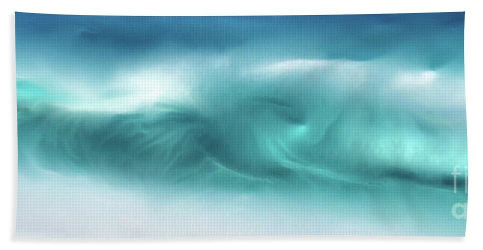 Beach Towel- Blue Ocean Waves On The Beach Panoramic