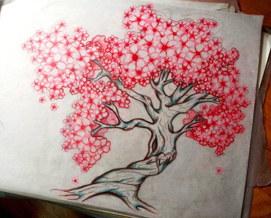 Completed Cherry Tree Tattoo Design By 16shokushu On Deviantart Blossom Tree Tattoo Cherry Blossom Tree Tattoo Cherry Tree Tattoos