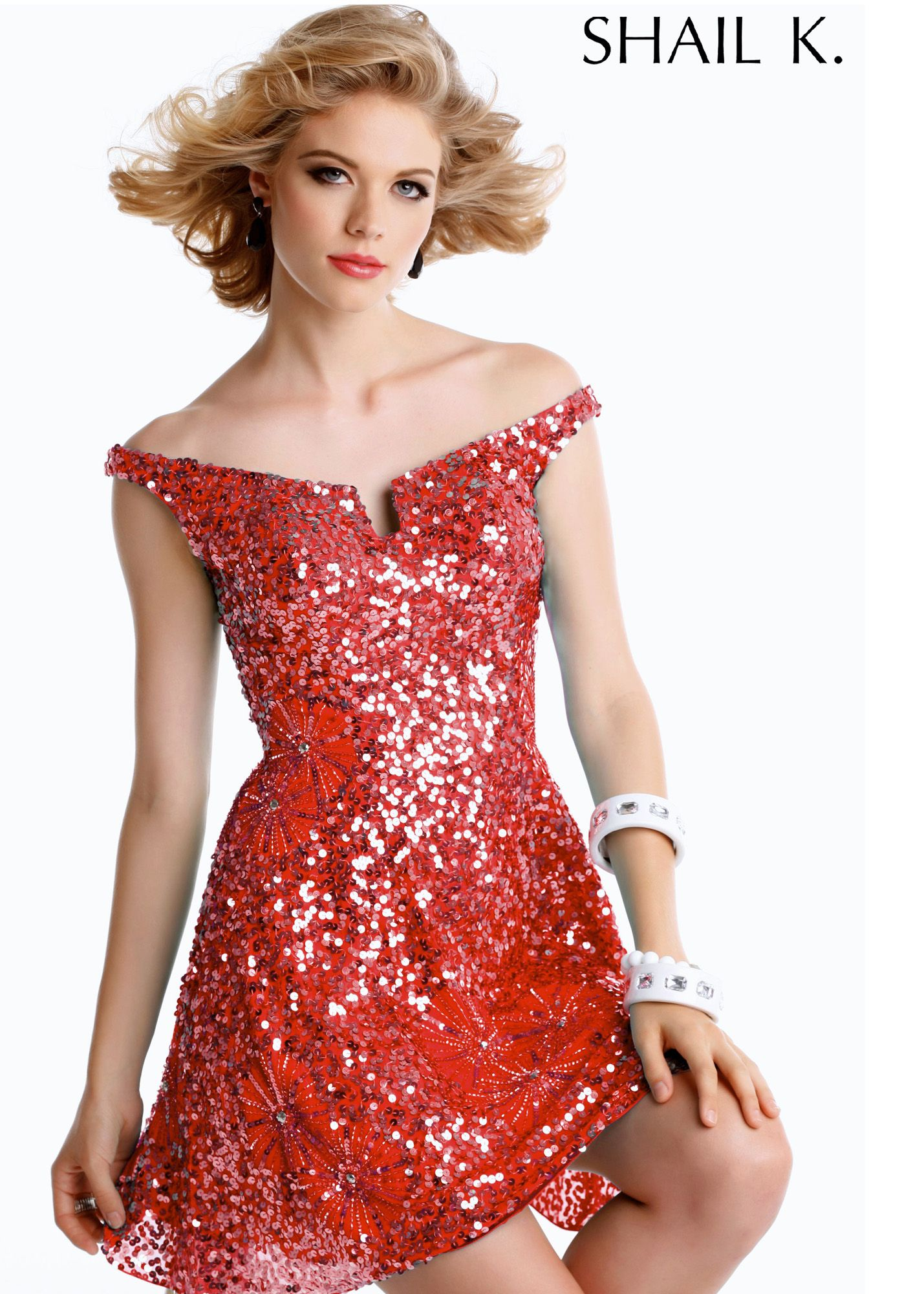 Shail k red sequin dress prom dresses online thepromdresses