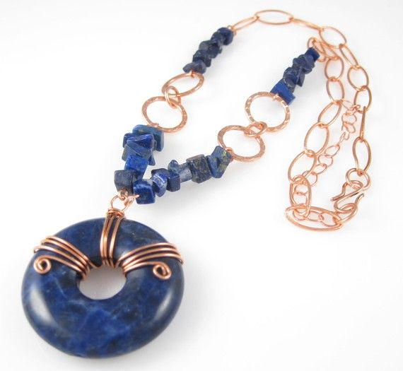 Hey, I found this really awesome Etsy listing at https://www.etsy.com/listing/52057964/copper-wrapped-sodalite-necklace-blue