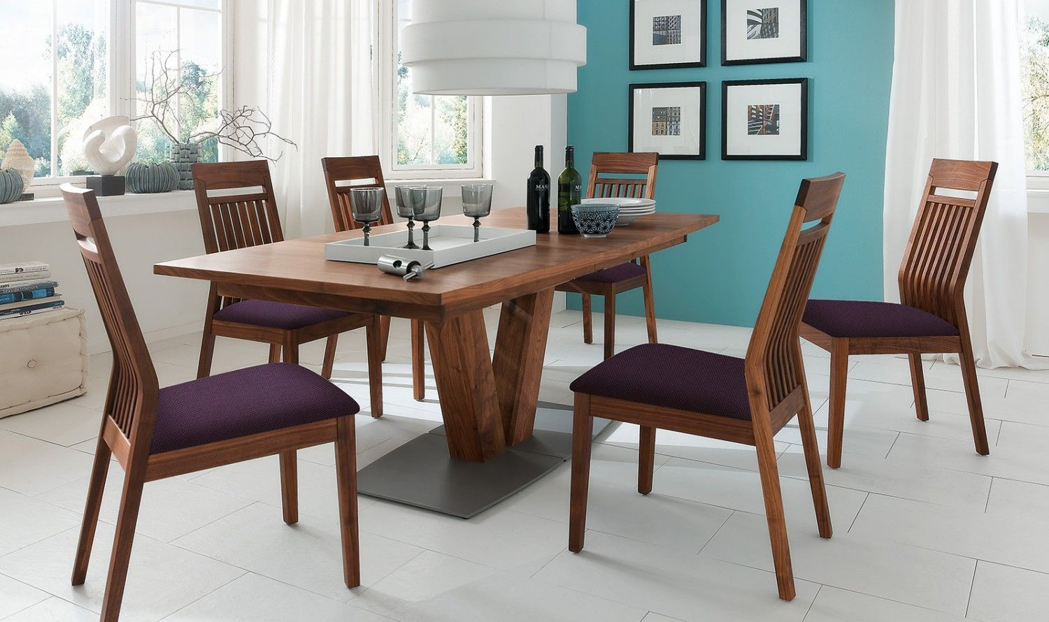 Et537 Extendable Dining Table With Boat Shaped Top Venjakob