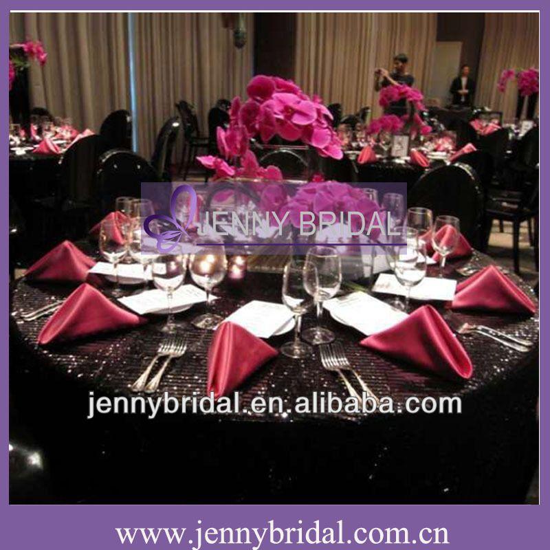 NP008E Black Sequin Table Linen And Hot Pink Taffeta Table Napkin  $0.45~$0.95
