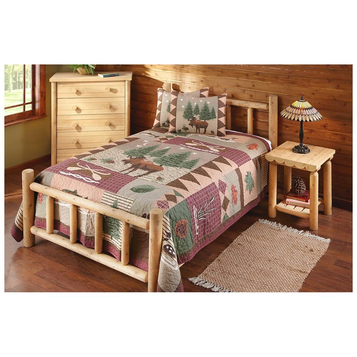 Log Bedroom Sets Beauteous Castlecreek Twin Deluxe Cedar Log Bed  551981 Bedroom Sets Inspiration Design