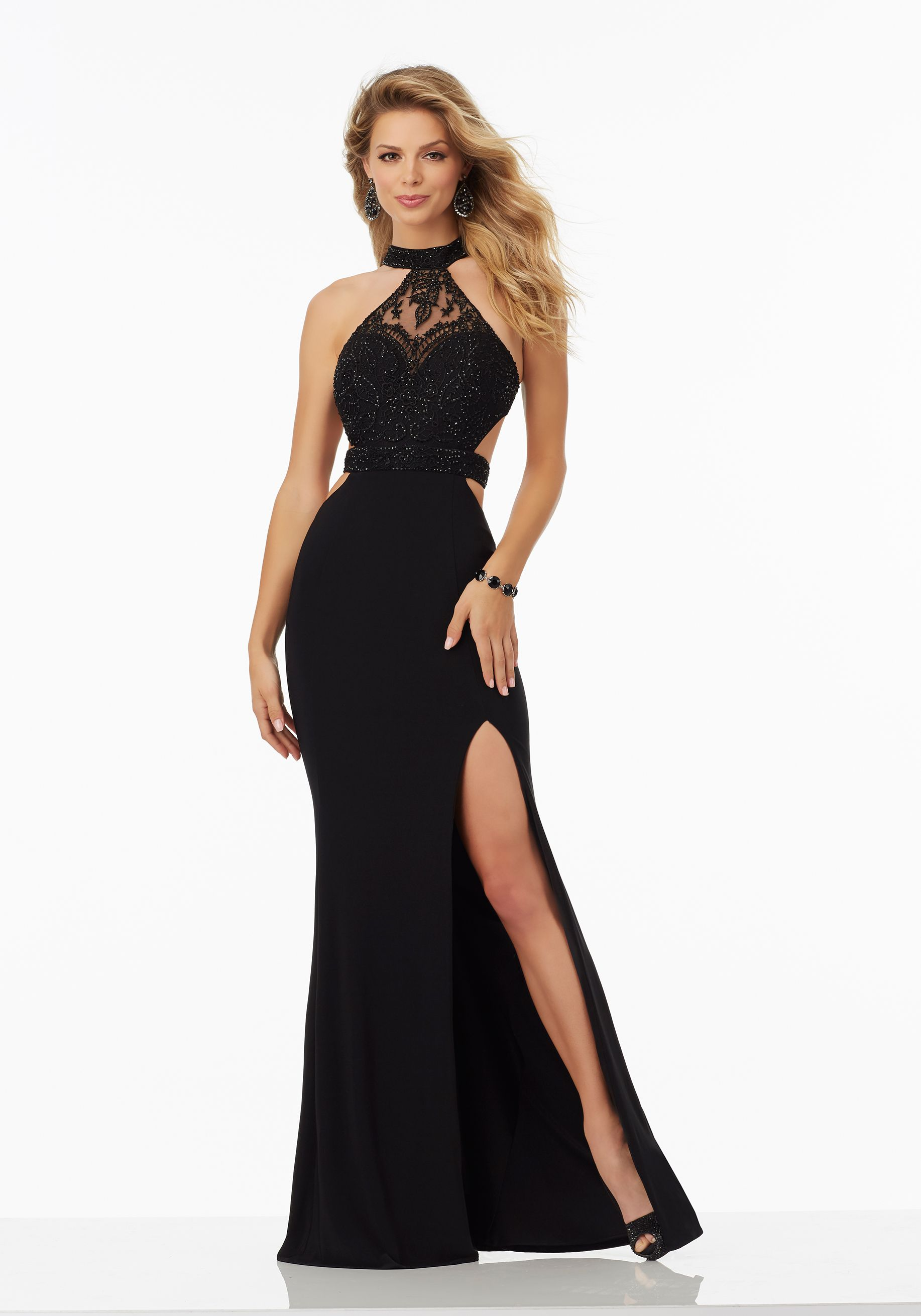 Fitted jersey prom dress with cutout sides and beaded bodice