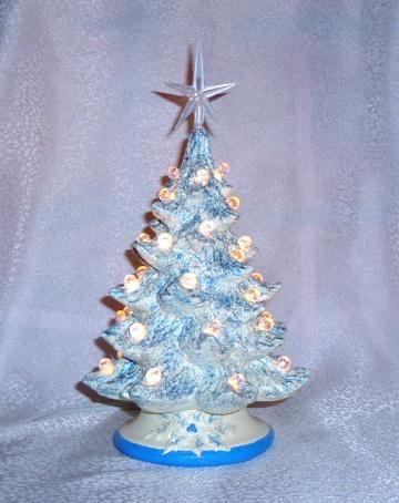 7 Ceramic Christmas Tree Blue Glitter Table Top Lamp Night Light