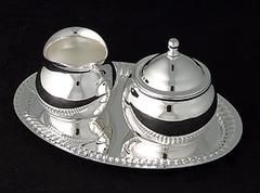 Mini Silver Plated Brass Sugar and Creamer Set - Tea Accessories - Roses And…