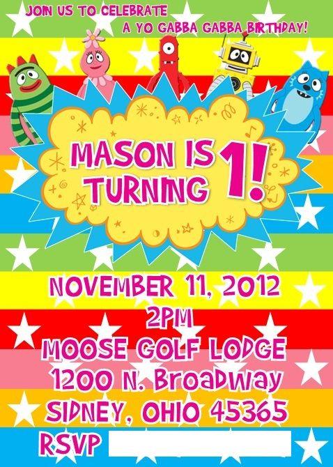 yo gabba gabba birthday invitation i created   mason's 1st, Wedding invitations