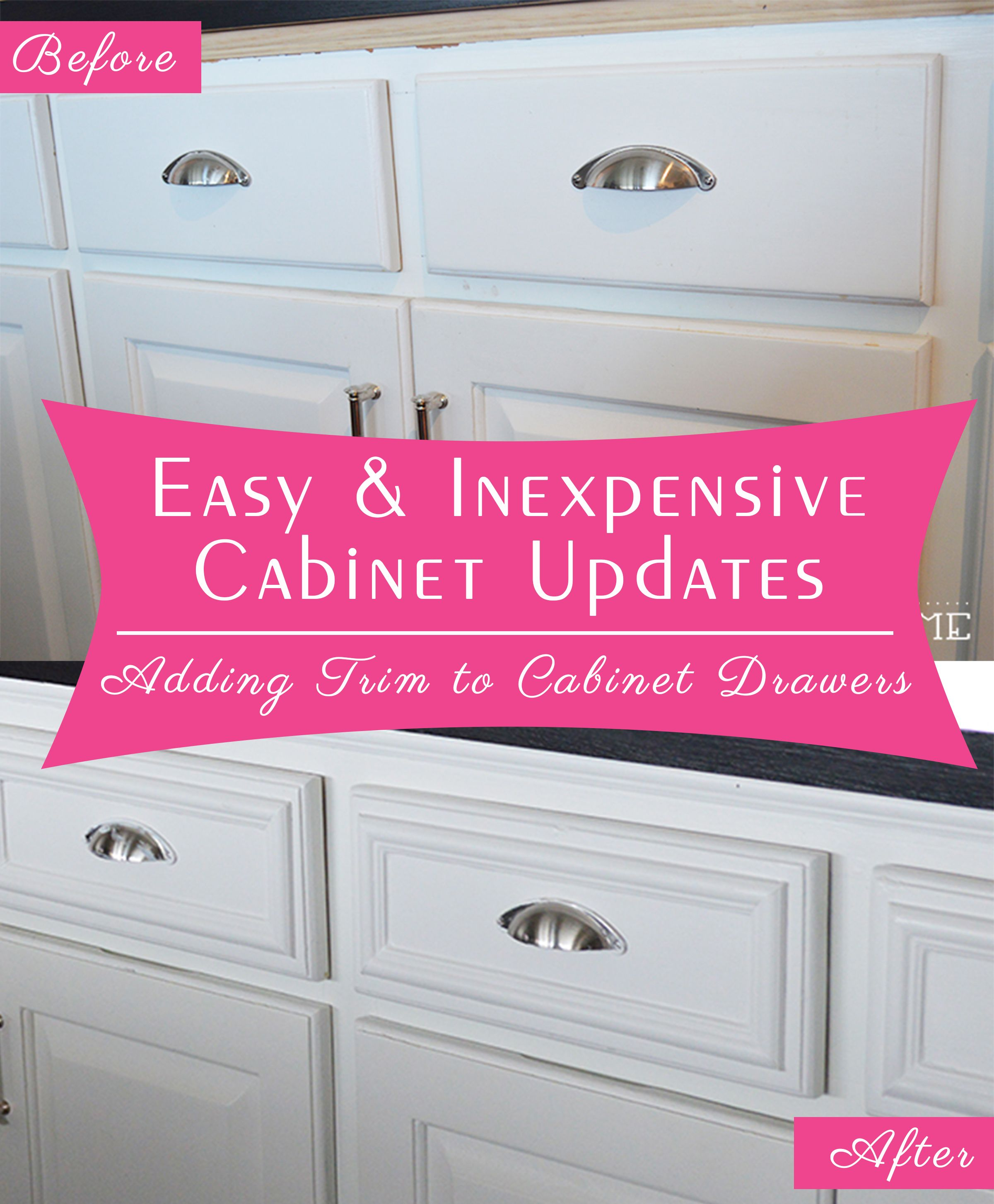 Easy and Inexpensive Cabinet Updates: How to add trim to cabinet drawers (kitchen drawers)