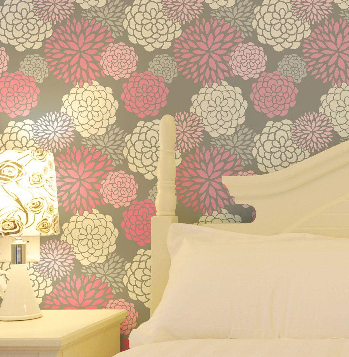 May Flowers 412: Reusable, Wall Stencil, DIY decor   diy   Pinterest ...