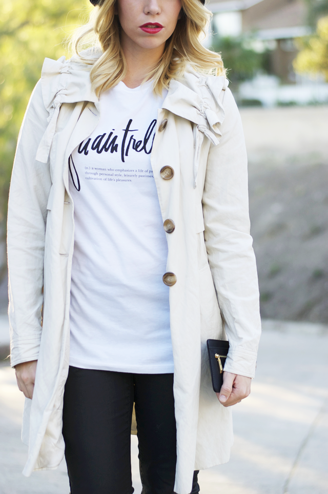 Graphic tee with a trench.