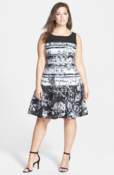 Gabby Skye Floral Stripe Fit & Flare Dress (Plus Size) available at #Nordstrom