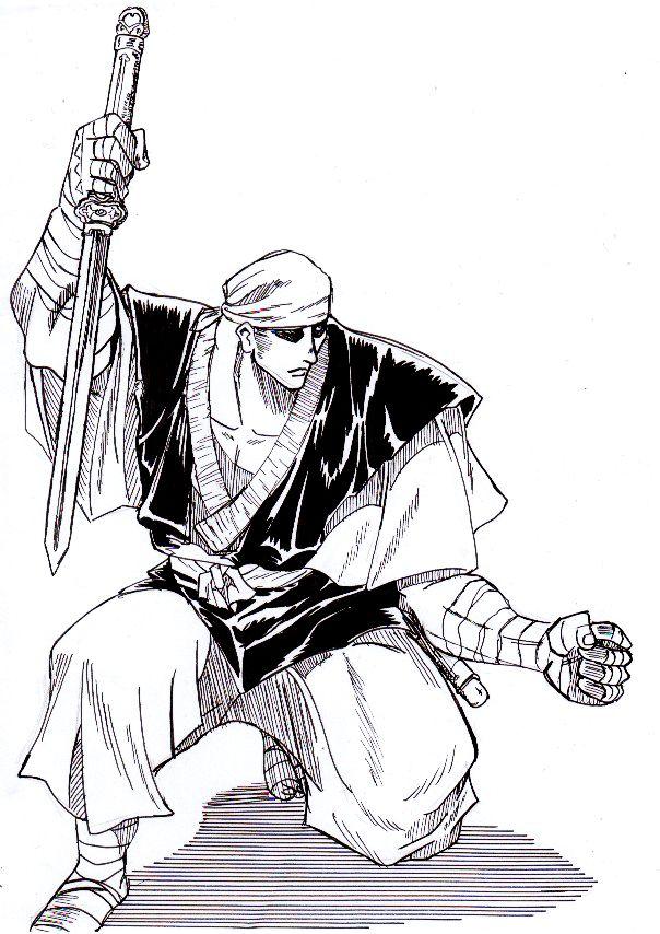 Moine guerrier (Kenshin) - Encre de Chine