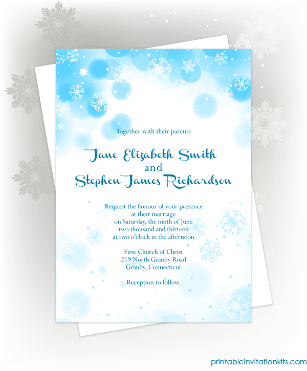 FREE PDF Download Snowflakes Winter Invitation For Winter Weddings - Wedding invitation templates: winter wedding invitation templates free