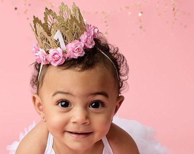 Girls Mini Pink and Gold Headbands