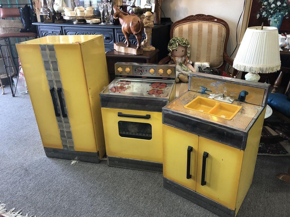 Vintage Kids Large Sears Play Kitchen Appliances Toy Metal