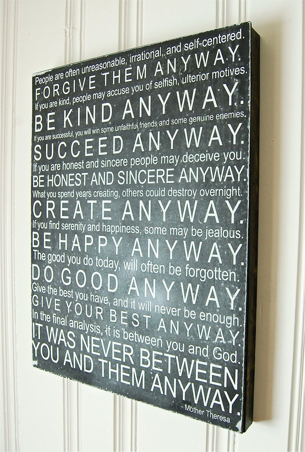 Mother Teresa Quotes Love Anyway For My Sign Wall Subway Art Mother Teresa Quote Wooden.