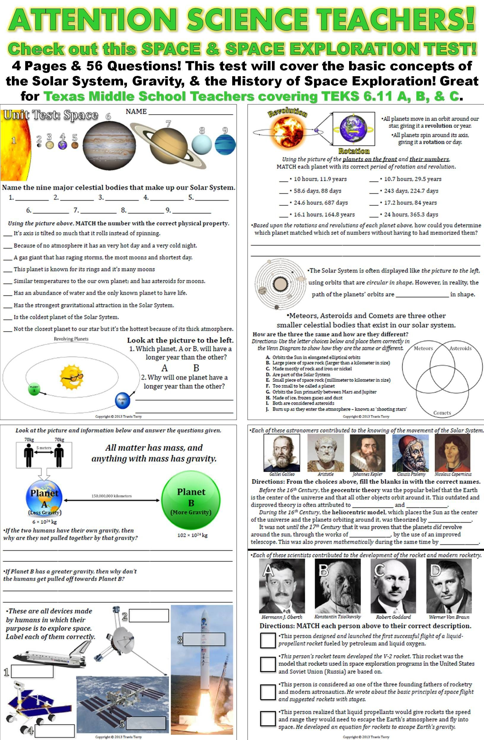 A Test Covering The Planets Amp Physical Properties Movement
