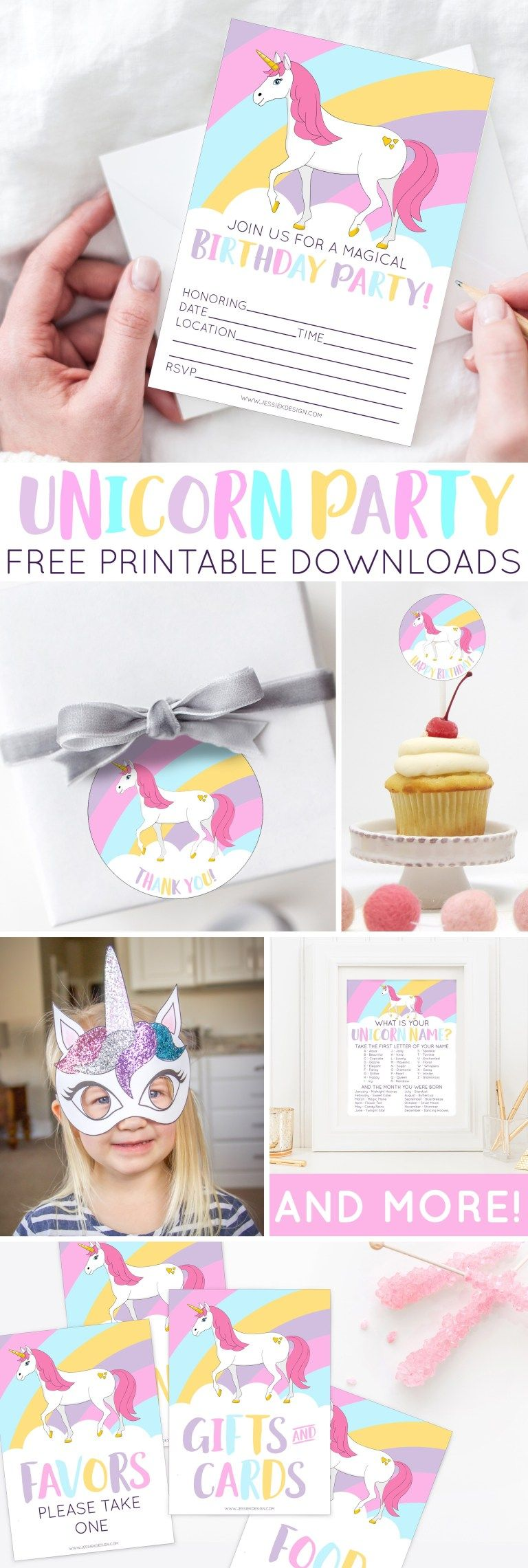 Unicorn Birthday Party Free Printables - Birthday party invitations diy, Diy unicorn birthday party, Unicorn birthday party decorations, Unicorn themed birthday party, Unicorn themed birthday, Unicorn birthday invitations - Your party will be nothing but magical with these FREE PRINTABLE downloads  Included are decorations, games, activities and an invitation  Download today!