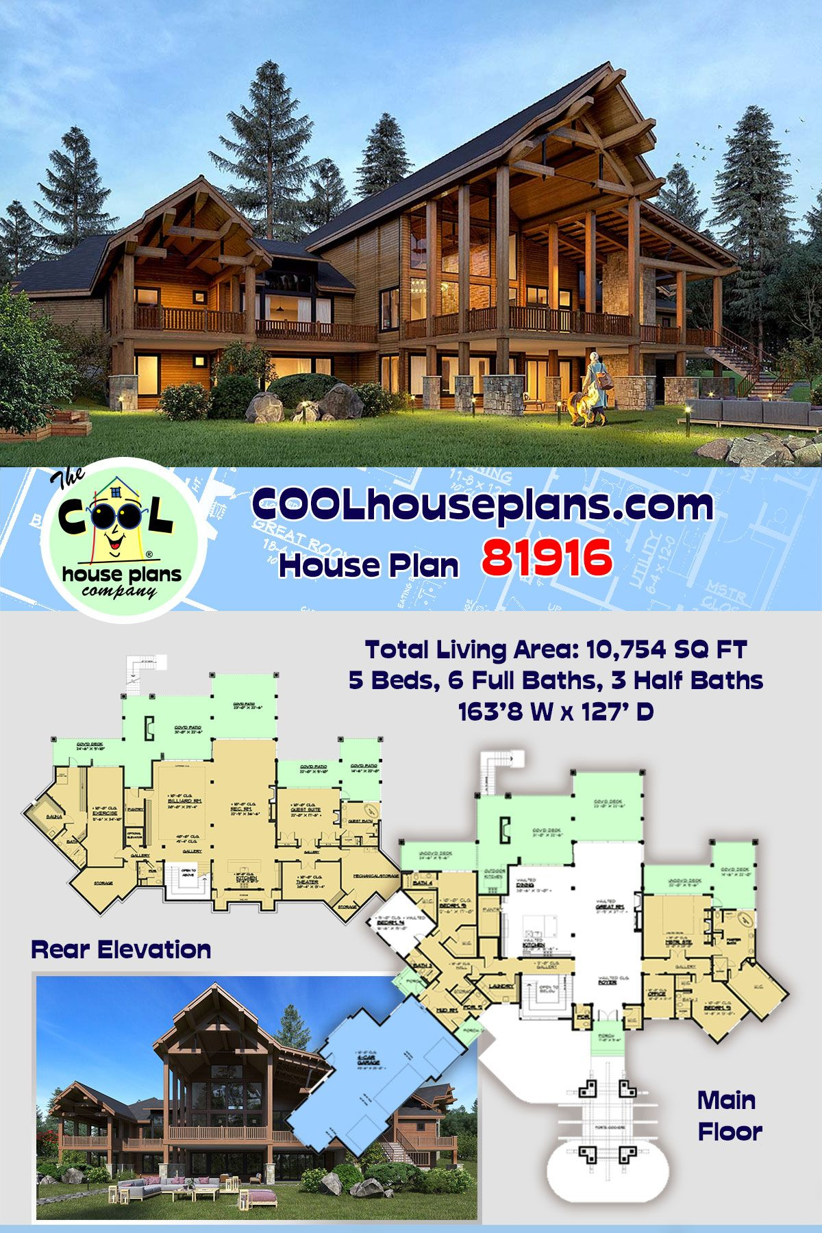 Log Style House Plan 81916 With 5 Bed 9 Bath 4 Car Garage House Plans Luxury House Plans Log Home Plans