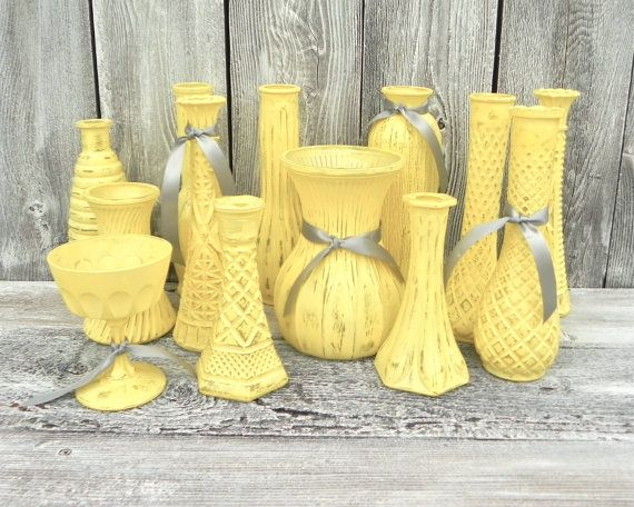 Shabby Chic Yellow Vase Collection Set Of Vases For Wedding Decor