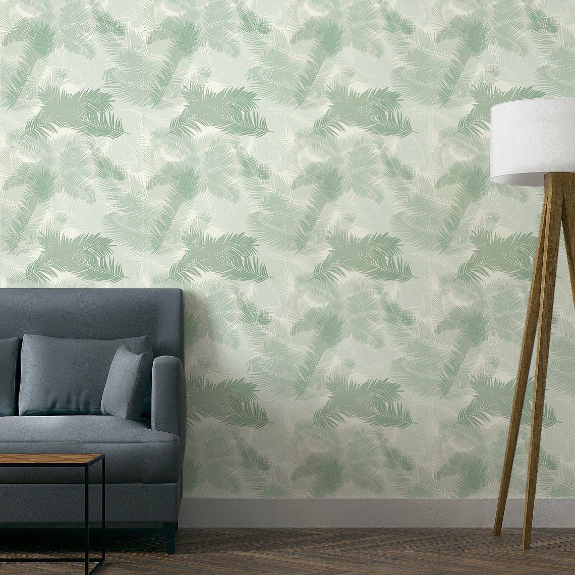 papier peint tropic vinyle sur intissé motif tropical, vert d'eau ... - Peut On Peindre Sur Du Papier Peint Vinyl