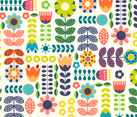Colorful Fabrics Digitally Printed By Spoonflower Swedish Folk Art Colorway1 Scandinavian Folk Art Pattern Art Folk Art Flowers