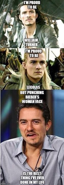 Orlando Bloom punching Justin Bieber, This man should get a blue peter badge at the least and a knighthood otherwise♥