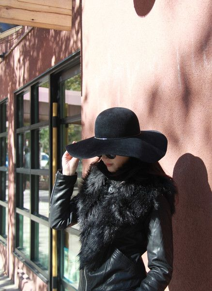 Black velour felt wide-brim hatåÊ Style# 2031-5612 Made in New York, NY Spot Clean Only åÊ