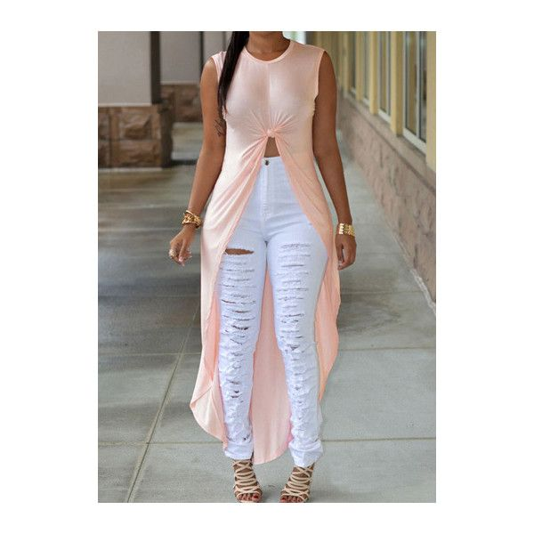Sleeveless Round Neck Pink High Low T Shirt ($20) ❤ liked on Polyvore featuring pink, long length t shirts, collared t shirt, long t shirts, long sleeveless tops and sleeveless tee